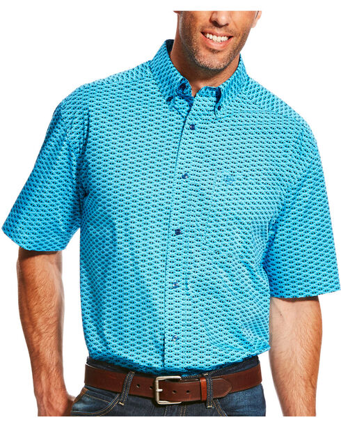 Ariat Men's Lowan Short Sleeve Shirt, Blue, hi-res