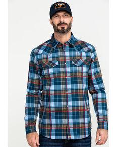 Cody James Men's FR Woven Plaid Long Sleeve Button-Down Work Shirt , Light Blue, hi-res
