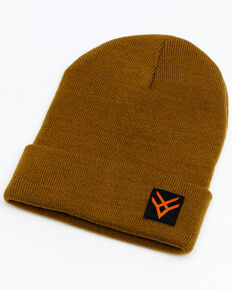 Hawx® Men's Heather Tan Logo Patch Beanie , Tan, hi-res