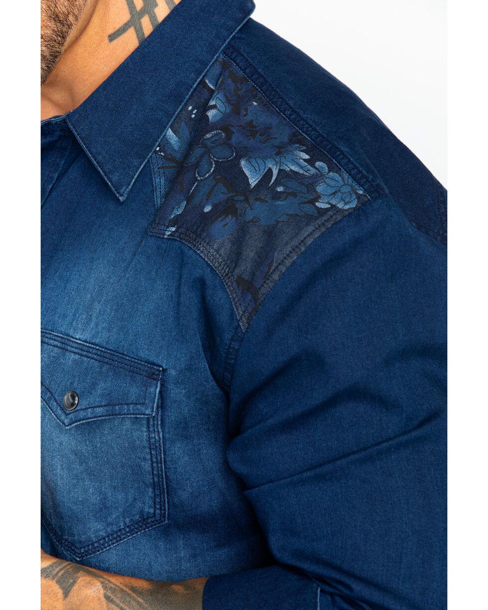 Moonshine Spirit Men's Wildflower Denim Shirt, Dark Blue, hi-res