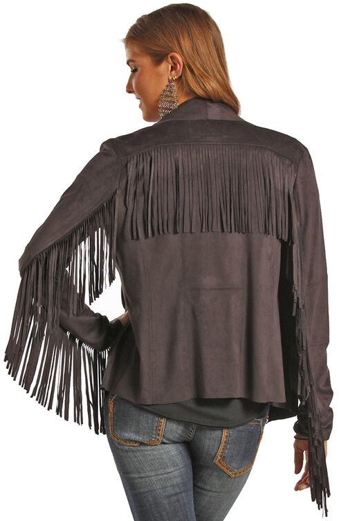 Powder River Outfitters Women's Fringe Short Microsuede Jacket, Black, hi-res