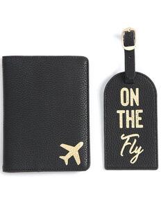 Shiraleah Black Passport Jacket & Luggage Tag Two-in-One Set, Black, hi-res