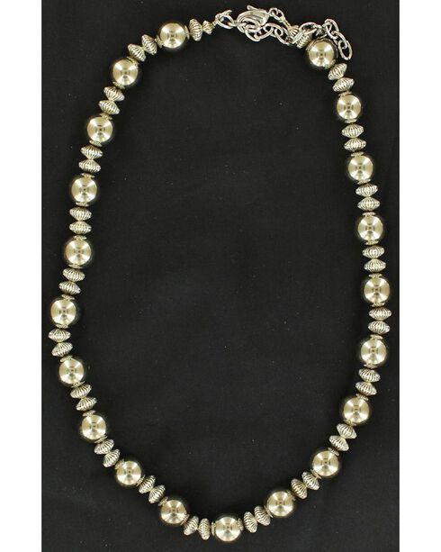 Fancy Beaded Necklace, Silver, hi-res
