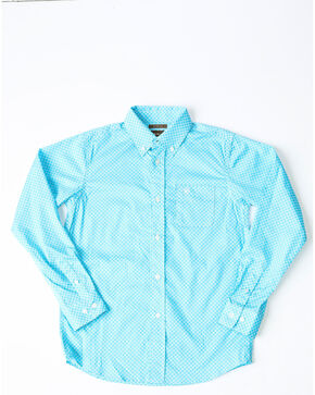 Ariat Boys' Molson Stretch Geo Print Long Sleeve Western Shirt , Turquoise, hi-res