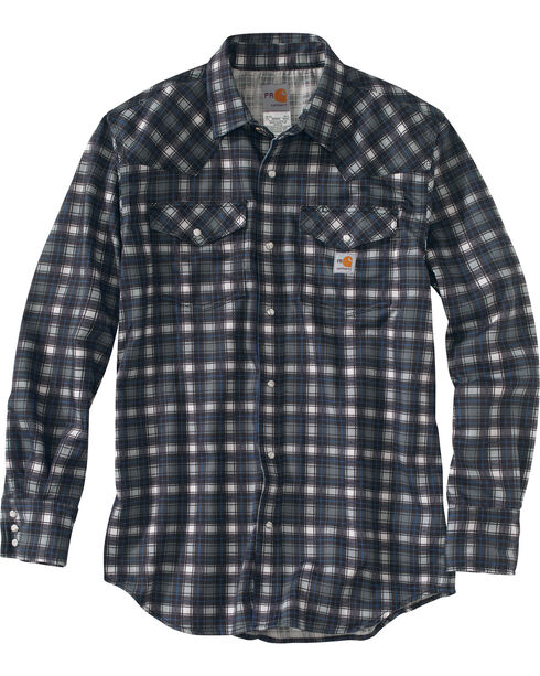 Carhartt Men's Plaid Grey Flame-Resistant Snap-Front Shirt , Grey, hi-res