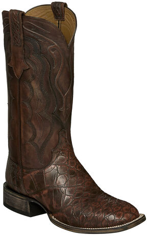 Lucchese Brick Giant Gator Vince Cowboy Boots - Square Toe , Dark Brown, hi-res