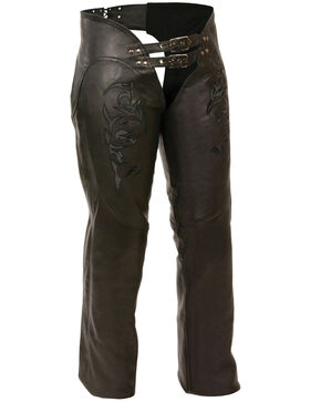 Milwaukee Leather Women's Reflective Tribal Embroidered Chaps - 5X, Black, hi-res