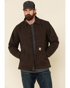 Carhartt Men's Dark Brown Washed Duck Sherpa Lined Work Coat - Tall , Dark Brown, hi-res