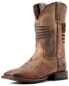 Ariat Men's Circuit Patriot Western Boots - Square Toe, Distressed Brown, hi-res