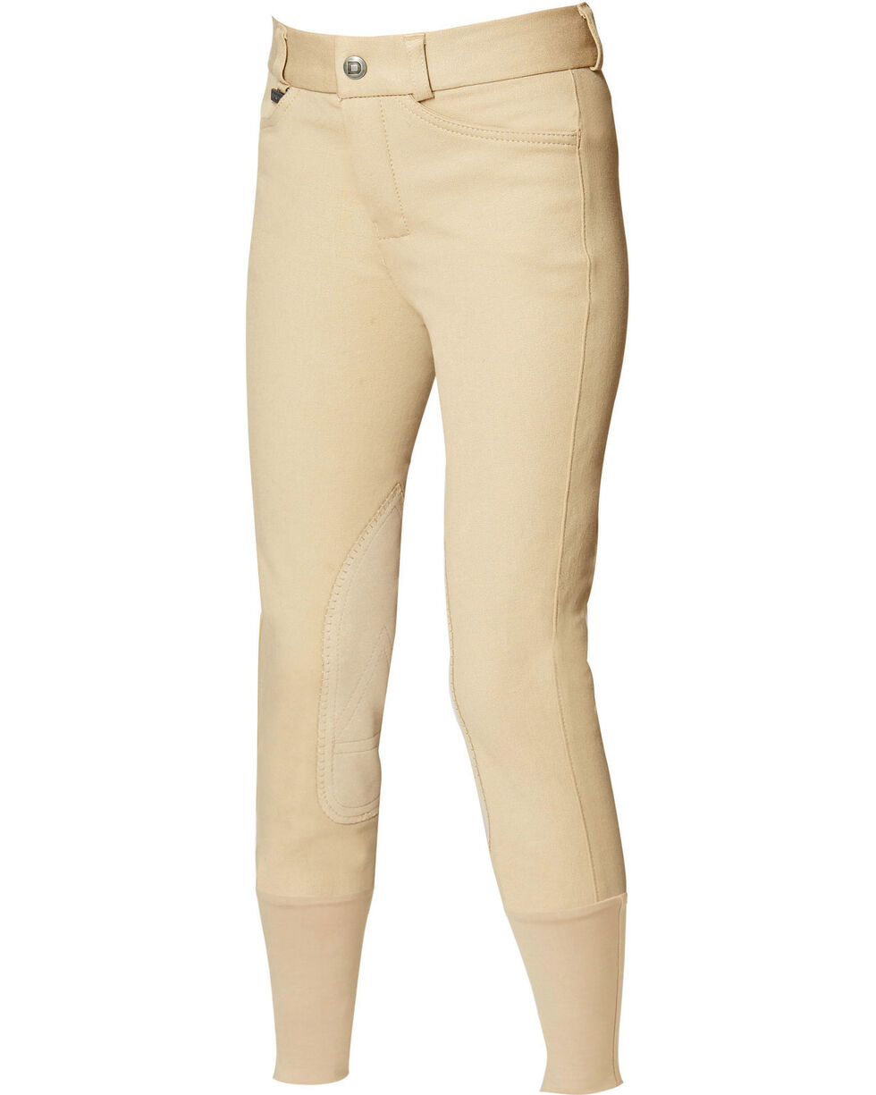 Dublin Kids' Active Adjustable Waist Euro Seat Front-Zip Breeches, Beige, hi-res