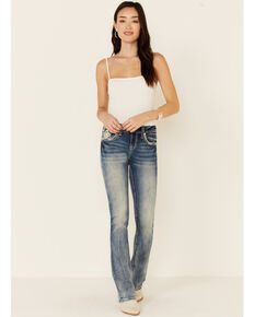 Grace in LA Women's Diamond Border Bootcut Jeans, Blue, hi-res