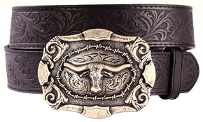 AndWest Men's Western Tooled Longhorn Belt, Black, hi-res
