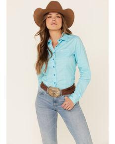 Cinch Women's Light Blue Stretch Geo Print Long Sleeve Western Core Shirt , Blue, hi-res