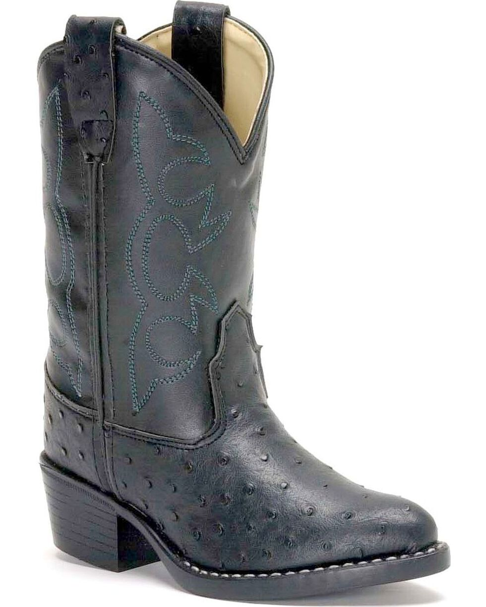 Old West Boys' Ostrich Print Cowboy Boots, Black, hi-res