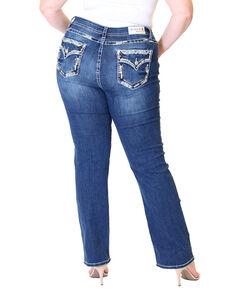 Grace In LA Women's Flap Pocket Straight Jeans - Plus, Blue, hi-res