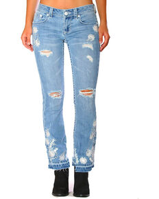 Grace in LA Women's Blue Floral Cropped Jeans - Boot Cut , Blue, hi-res