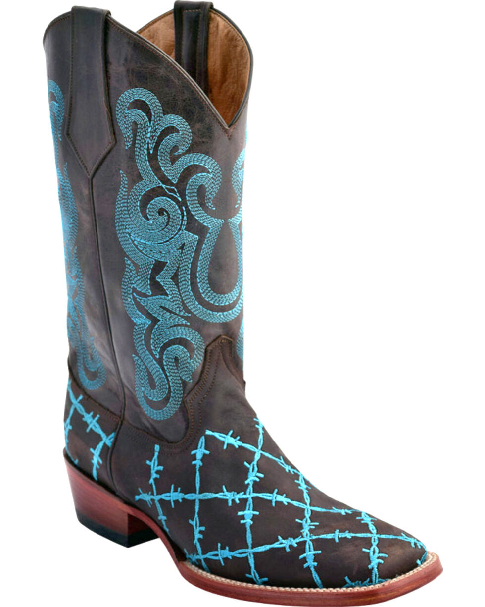Ferrini Women's Barbed Wire Western Boots - Square Toe, Chocolate, hi-res