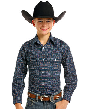 Rough Stock by Panhandle Boys' Seely Vintage Print Long Sleeve Snap Shirt, Navy, hi-res