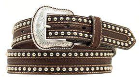 Nocona Tooled & Studded Overlay Belt, Brown, hi-res