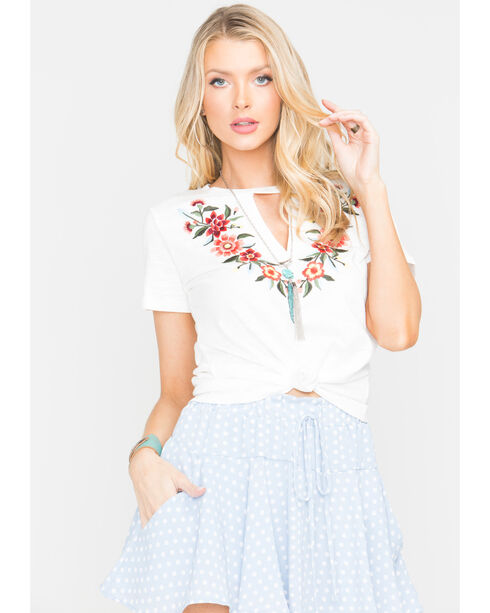 Miss Me Women's Floral Embroidered Keyhole T-Shirt, Off White, hi-res