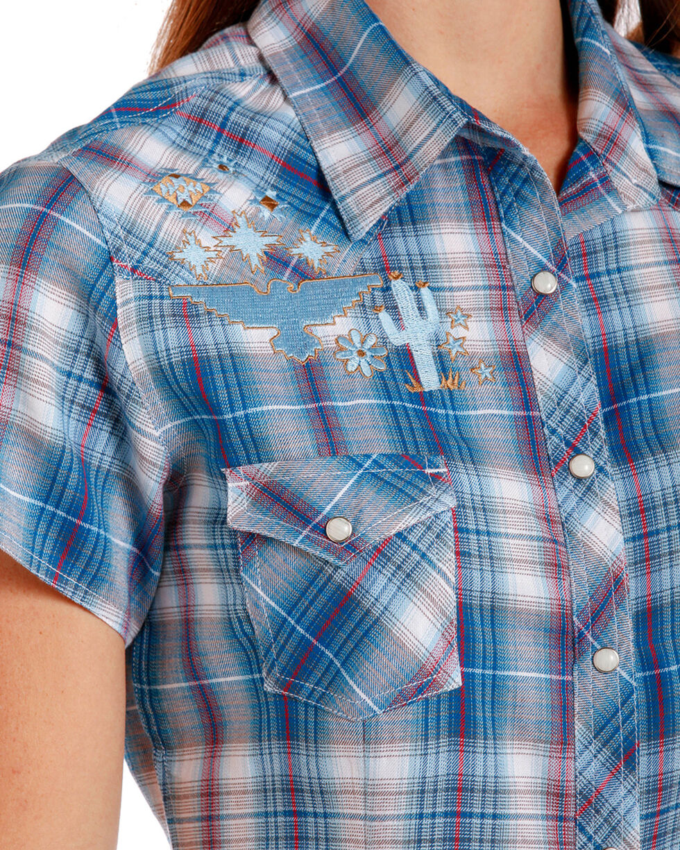Panhandle Women's Blue Front Embroidered Plaid Shirt , Blue, hi-res