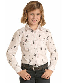 Panhandle Girls' White Cactus Print Long Sleeve Western Shirt , White, hi-res
