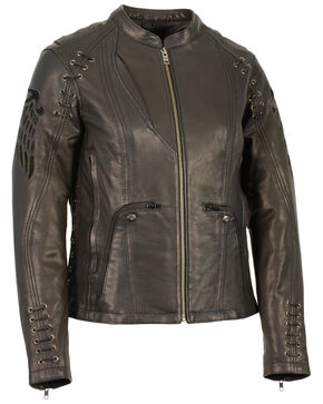 Milwaukee Leather Women's Lightweight Scuba Racer Jacket - 3X, Black, hi-res