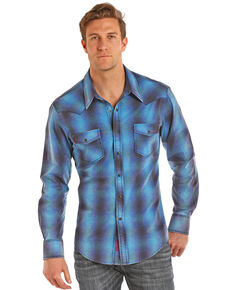 Rock & Roll Denim Men's Ombre Plaid Yarn Dye Long Sleeve Shirt , Light Blue, hi-res