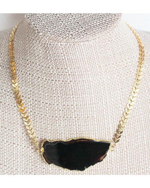 Everlasting Joy Jewelry Women's Black Ice Dance Necklace , Gold, hi-res