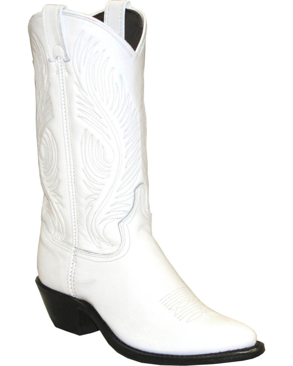 Abilene White Western Cowgirl Boots - Round Toe , White, hi-res