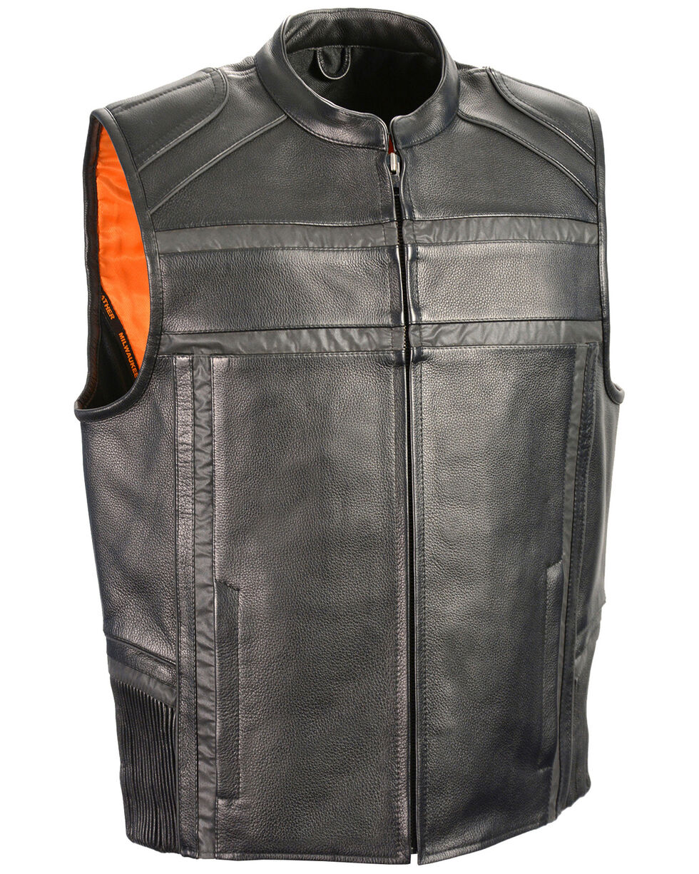 Milwaukee Leather Men's Reflective Band & Piping Zip Front Vest - 4X, Black, hi-res