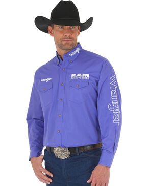 Wrangler Men's Purple Ram Western Logo Shirt - Big and Tall, Purple, hi-res