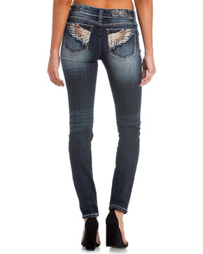 Miss Me Women's Indigo Wing Embroidered Skinny Jeans - Plus , Indigo, hi-res