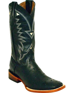 Ferrini Men's Black Full Quill Ostrich Print Cowboy Boots - Square Toe, Black, hi-res