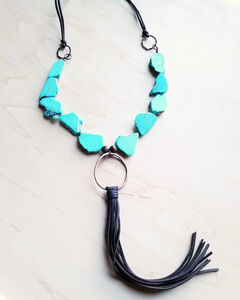 Jewelry Junkie Turqouise Slab Necklace with Genuine Long Leather Tassel, Turquoise, hi-res