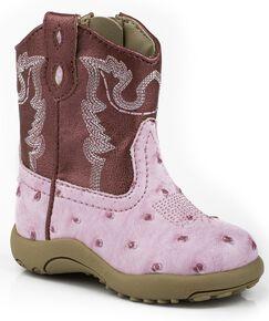 a29d0d69 Roper Infant Boys Ostrich Print Cowboy Boots - Round Toe, Pink, hi-res