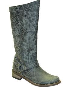 "Rawhide by Abilene Women's 12"" Tall Side Zipper Harness Boots - Round Toe, Grey, hi-res"