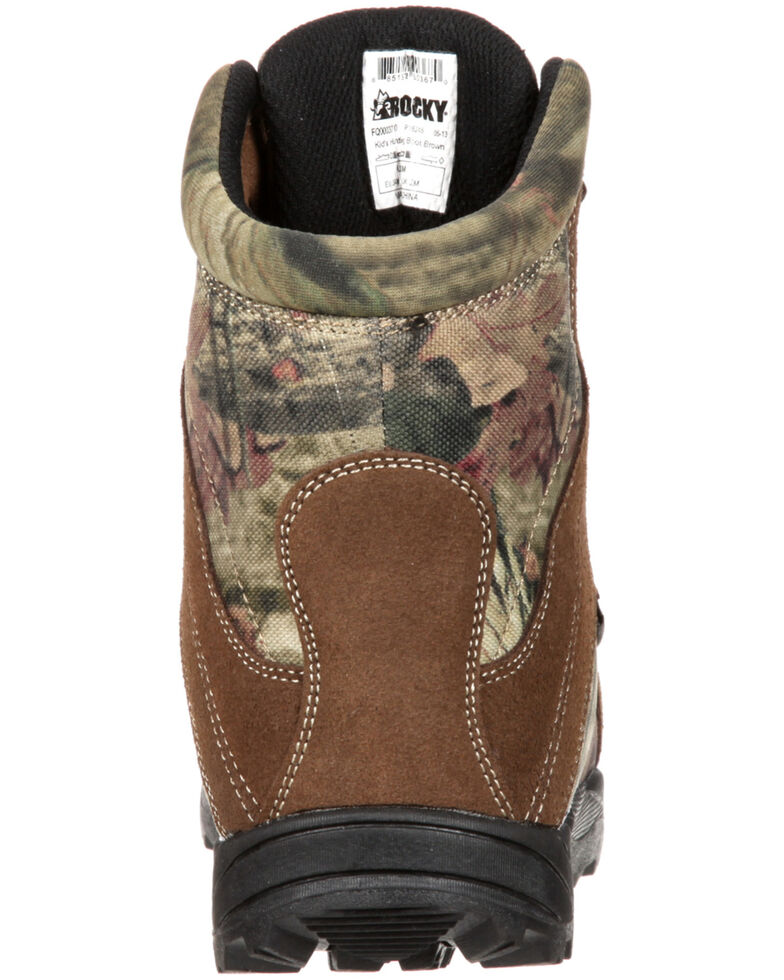 Rocky Boys' Hunting Waterproof Insulated Boots, Brown, hi-res