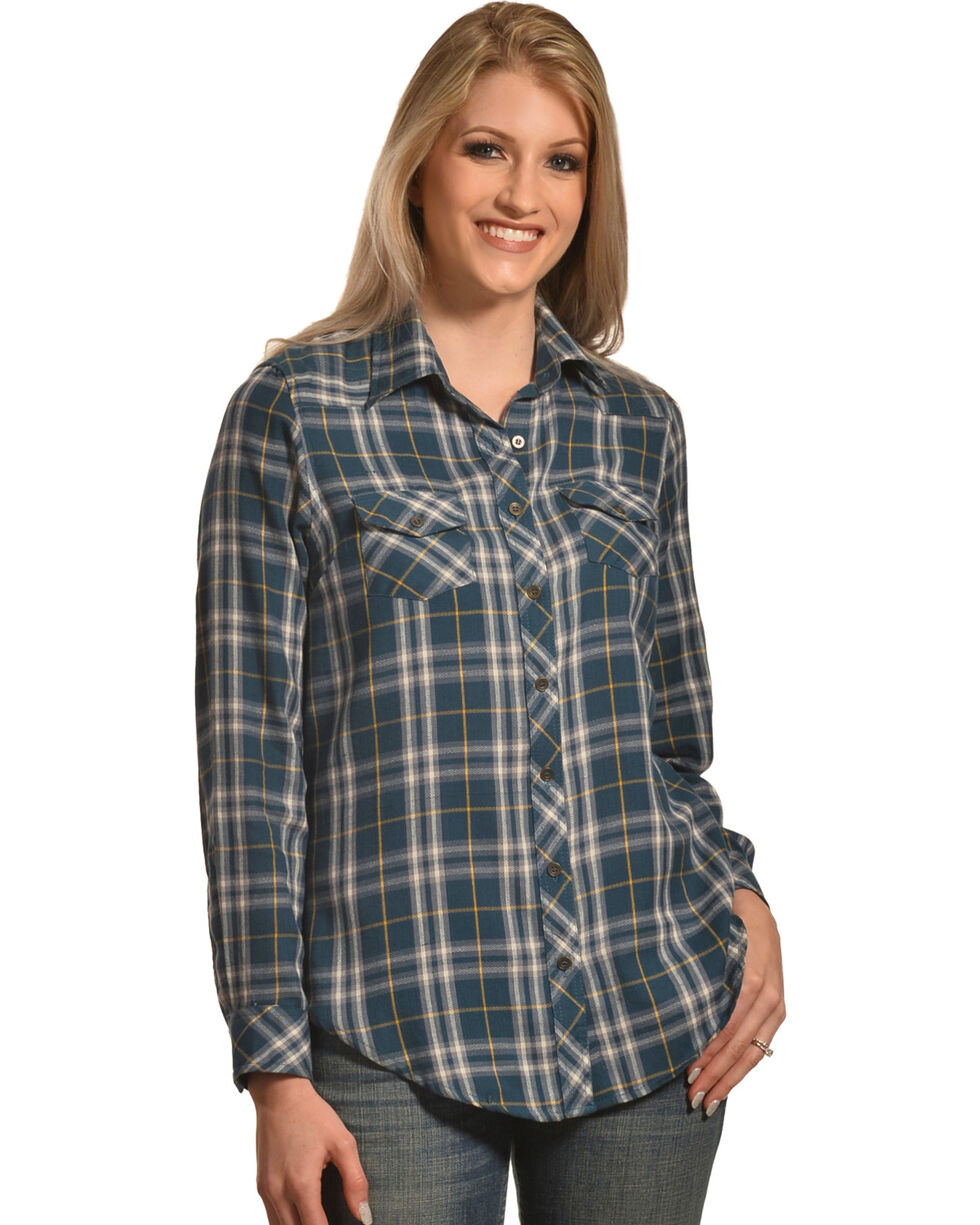 Angie Women's Plaid Long Sleeve Shirt, Multi, hi-res