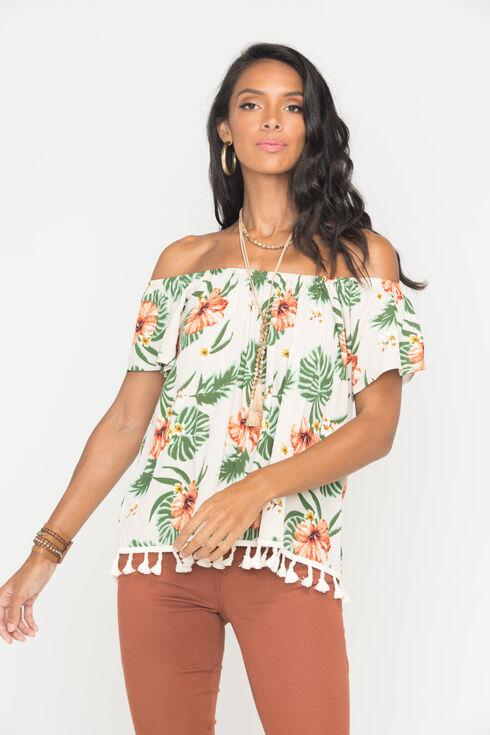 Miss Me Women's Khaki Floral Print Short Sleeve Shirt, Khaki, hi-res