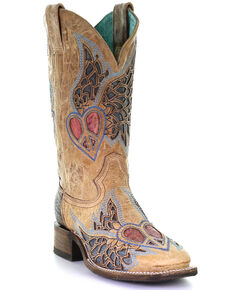 Corral Women's Sand Side Wing Western Boots - Square Toe, Tan, hi-res