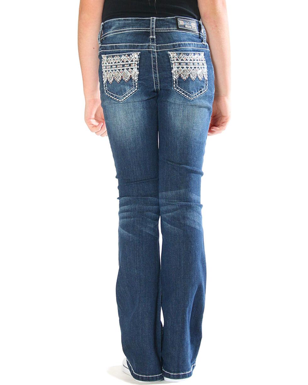 Grace in LA Girls' Ikat Embellished Pocket Jeans - Boot Cut , Blue, hi-res