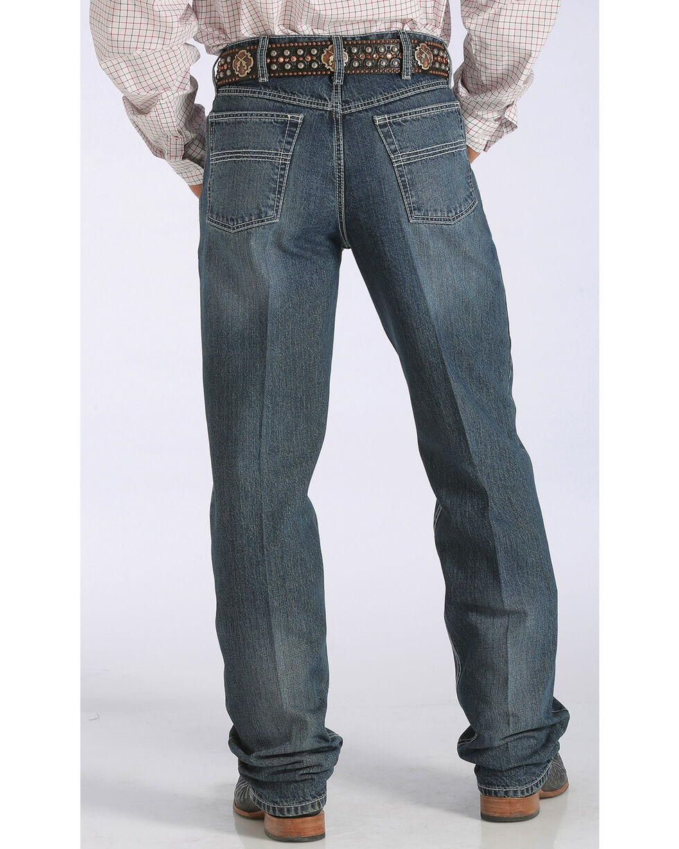 Cinch Men's Black Label Relaxed Fit Tapered Leg Jeans - Big & Tall, Med Stone, hi-res