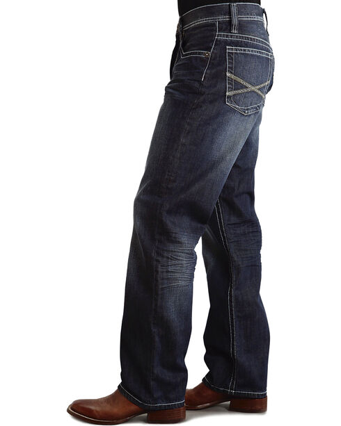 "Stetson 1520 Fit Bold ""X"" Stitched Jeans - Big & Tall, Dark Stone, hi-res"