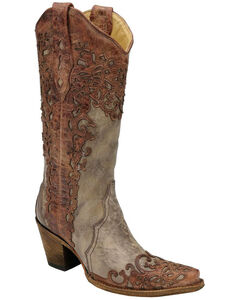 Corral Laser Overlay Cowgirl Boots - Snip Toe, Sand, hi-res