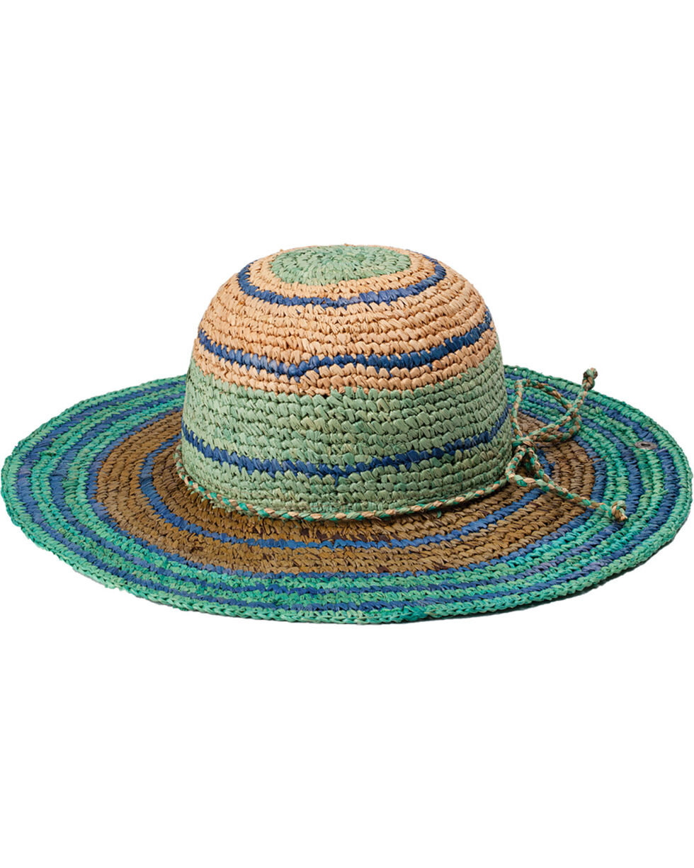 "Peter Grimm Rio 4 1/4"" Striped Teal Raffia Straw Sun Hat, Teal, hi-res"
