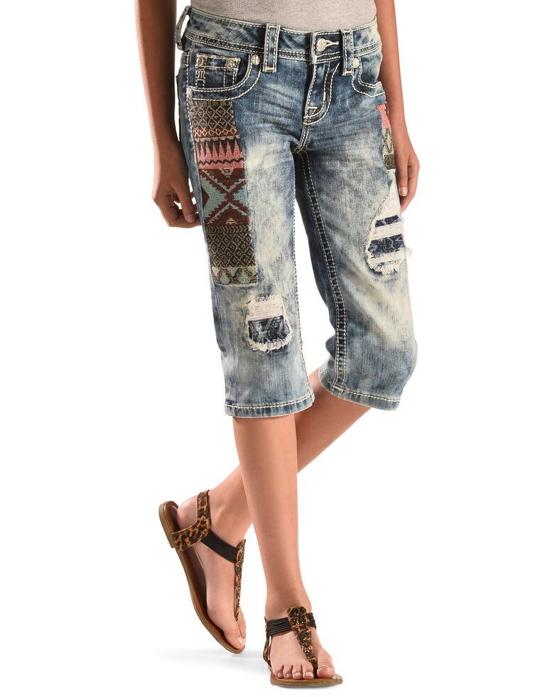 Miss Me Girls' Dainty Heart Capri Jeans, , hi-res