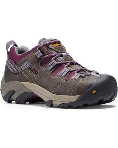 Keen Women's Detroit Low Water Resistant Work Shoes - Steel Toe , Grey, hi-res