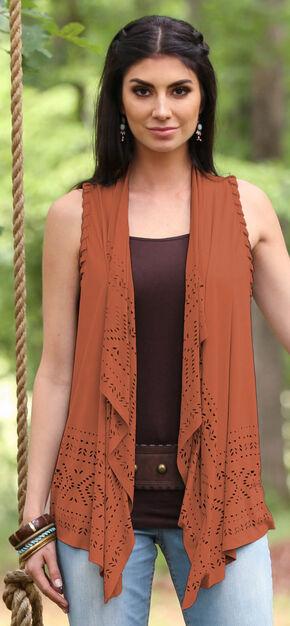 Wrangler Women's Braided Vest, Rust, hi-res
