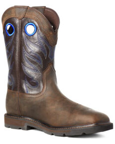 Ariat Men's Dark Brown Groundwork Western Work Boots - Steel Toe, Brown, hi-res